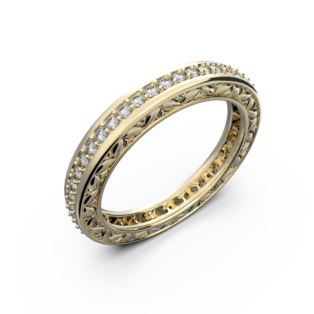 Yellow gold and diamonds wedding band for women - 1