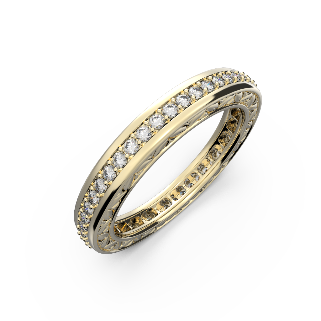 Yellow gold and diamonds wedding band for women - 11