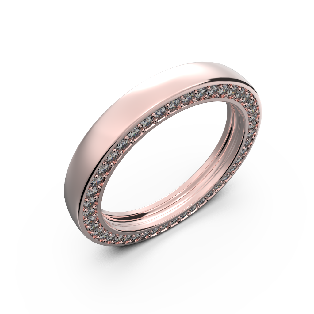 Rose gold wedding band with diamonds - 1
