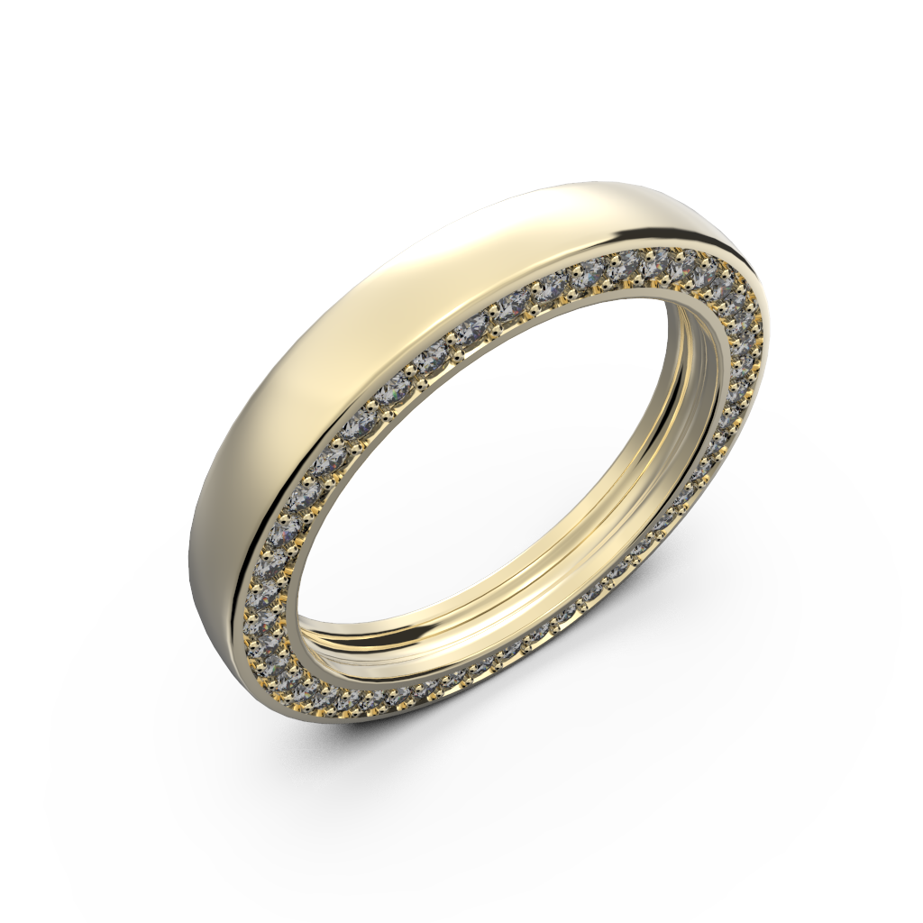 Yellow gold wedding band with diamonds - 1