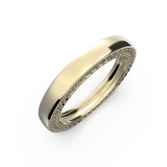 Yellow gold wedding band with diamonds - 12