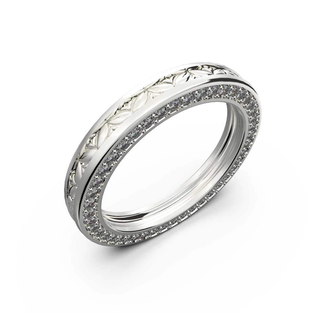 White gold wide wedding band for him and her - 1
