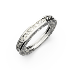 White gold wide wedding band for him and her - 12