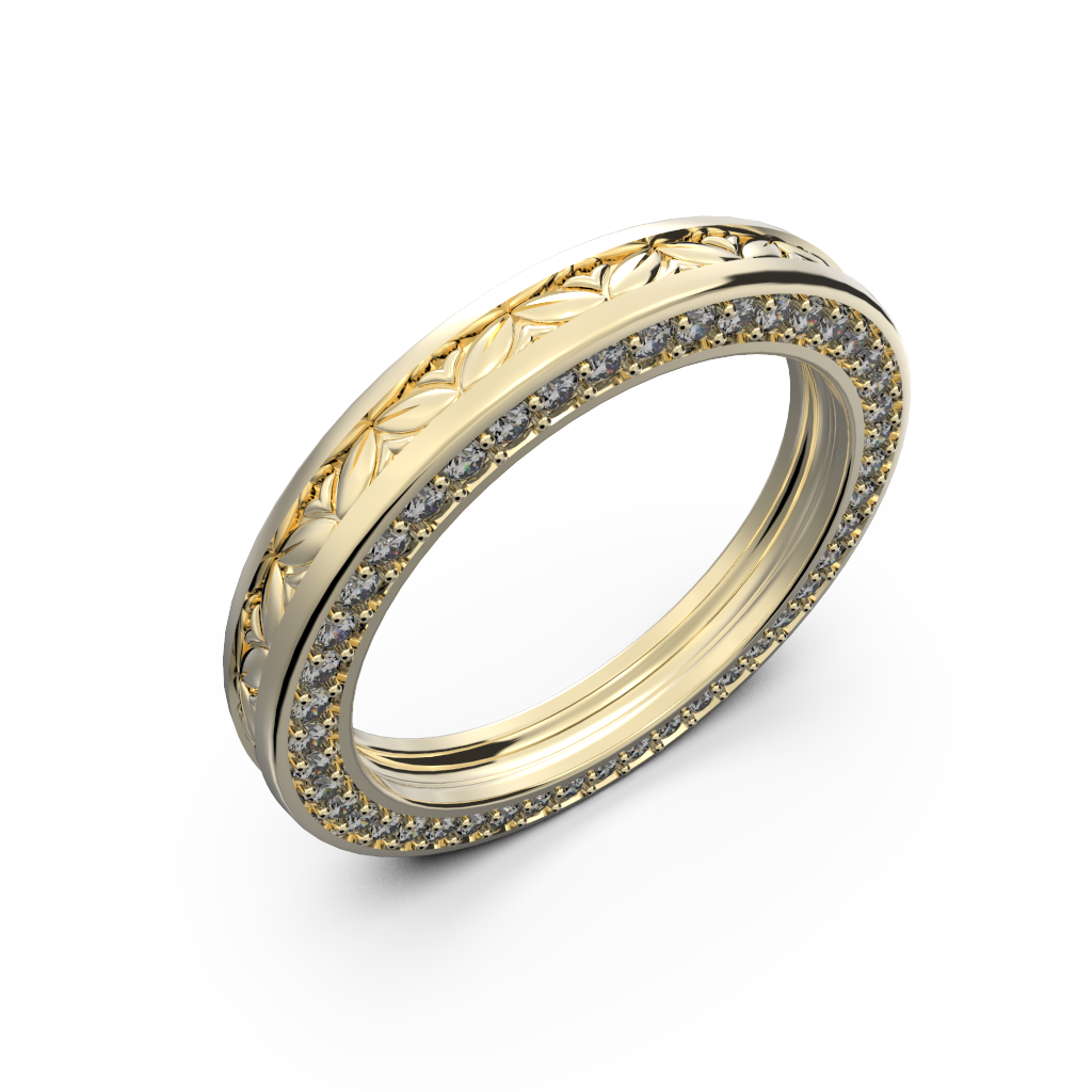 Yellow gold wide wedding band for him and her - 1