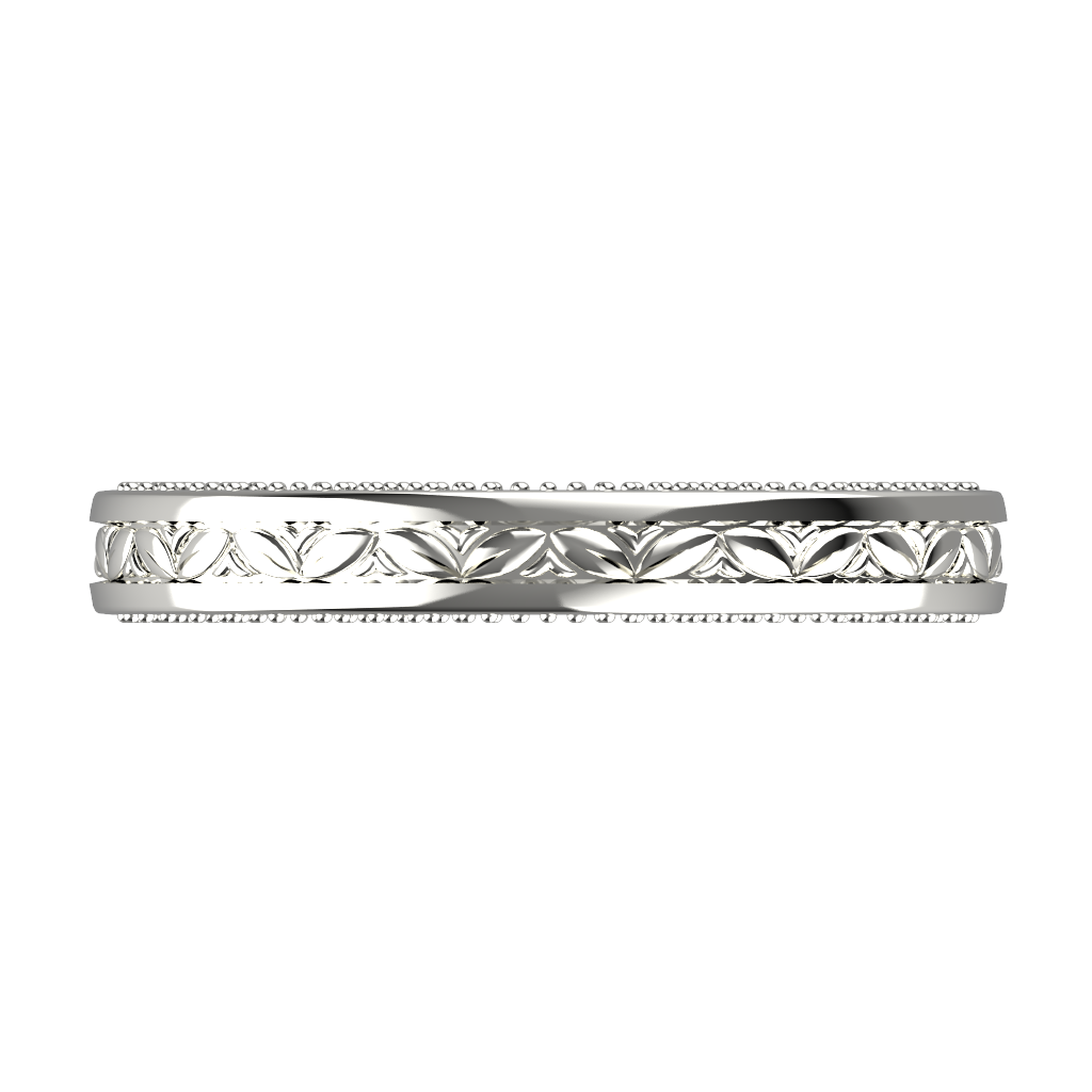 White gold wide wedding band for him and her - 4
