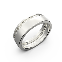 White gold wide wedding band set - 5