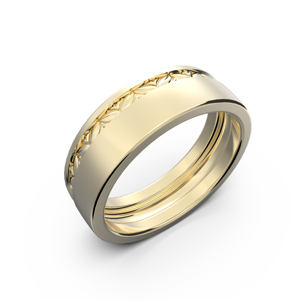 Yellow gold wide wedding band set - 7