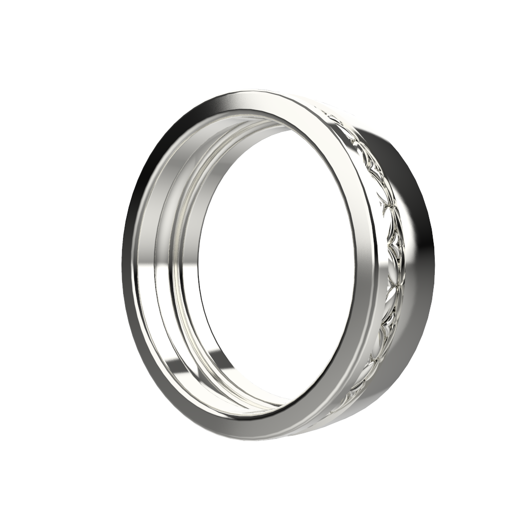 White gold wide wedding band set - 8