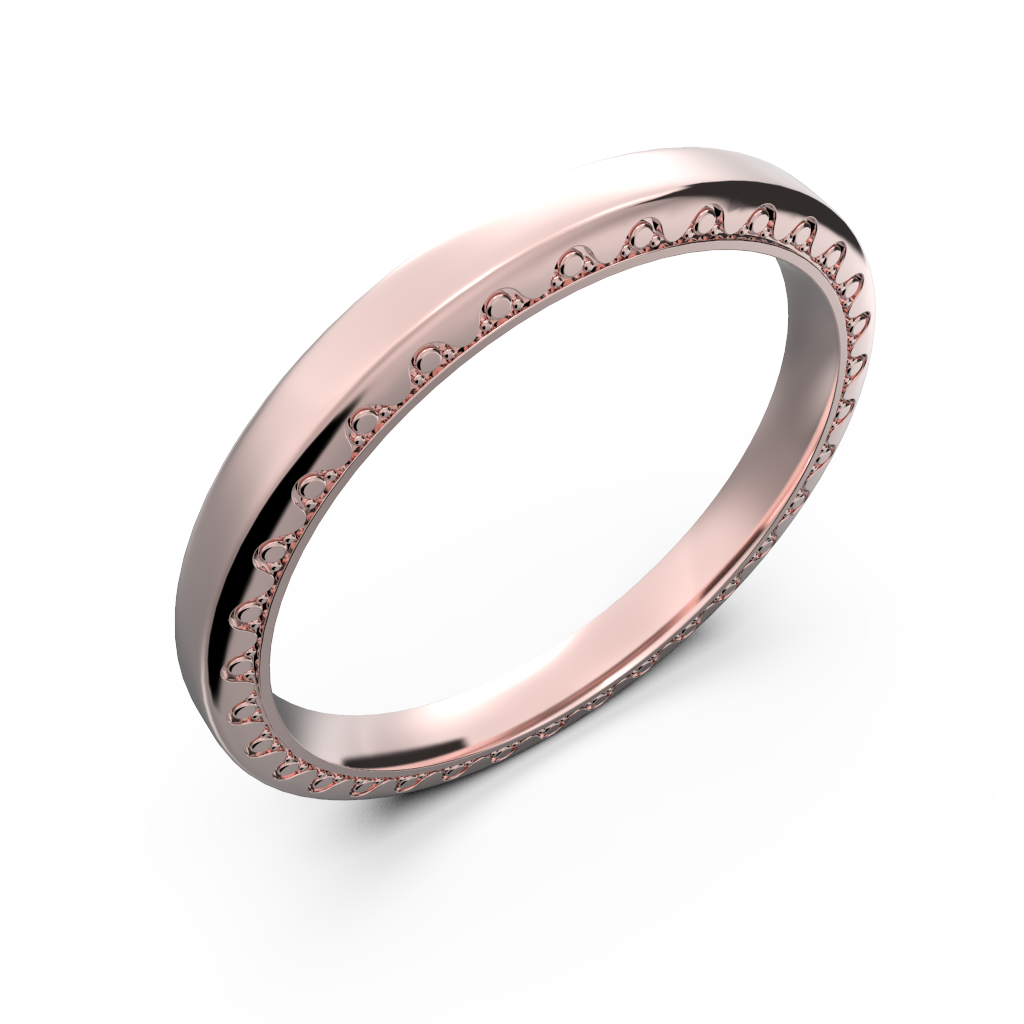 Rose gold and diamond couple wedding rings - 11