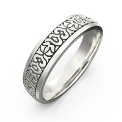 Men's gold carved ring - 1