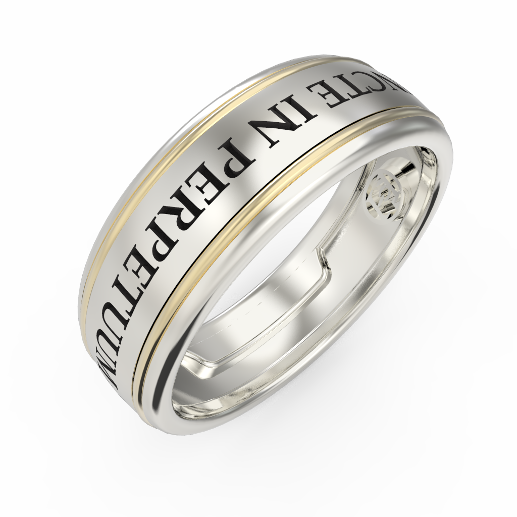 Men's gold engraved ring - 1