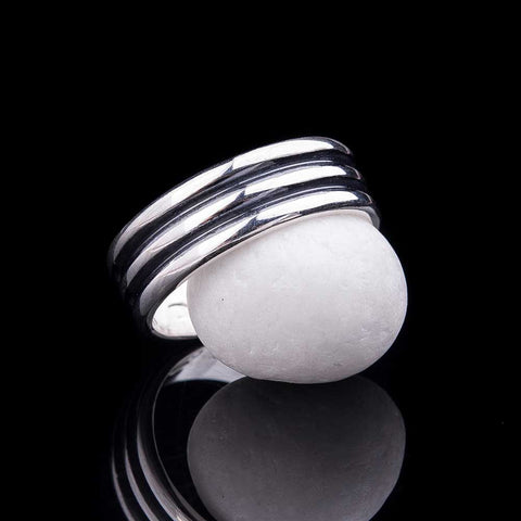 Two srtipes silver ring for men