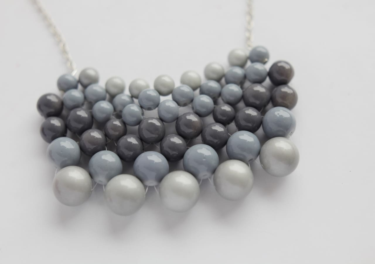 "A necklace of beads ""Gray sky"" - 1"