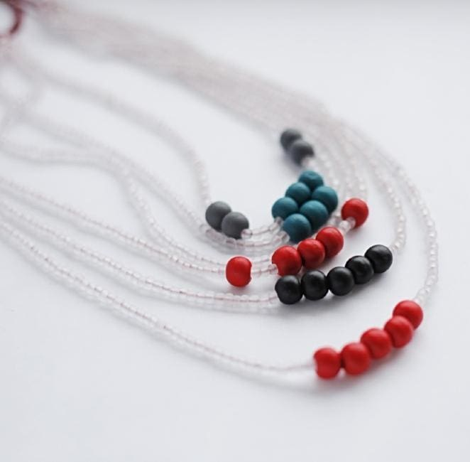 A Necklace Of Beads In Six Rows Sea Stones - Melnichenko1