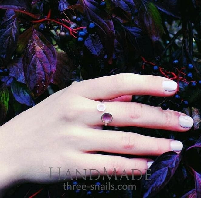 Adjustable Silver Ring For Her Lilac Spring - Vasylchenko1