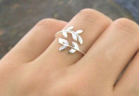 Adjustable Silver Ring Leaves - Ring