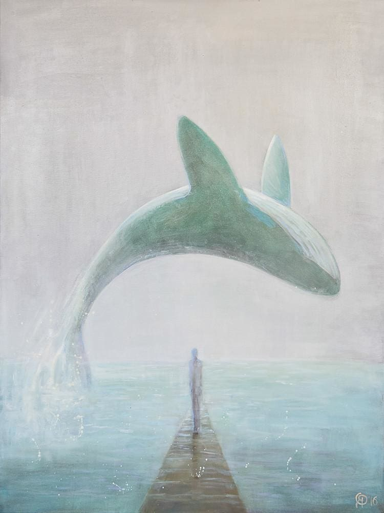 "Animal painting on canvas ""Whale"" - 1"