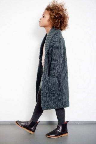 Long grey baby cardigan