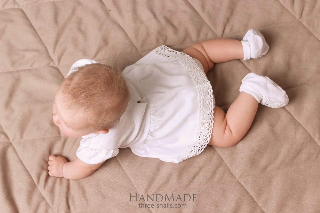 Baby Girl Cotton Bodysuit Stylish Day - Baptism Outfit