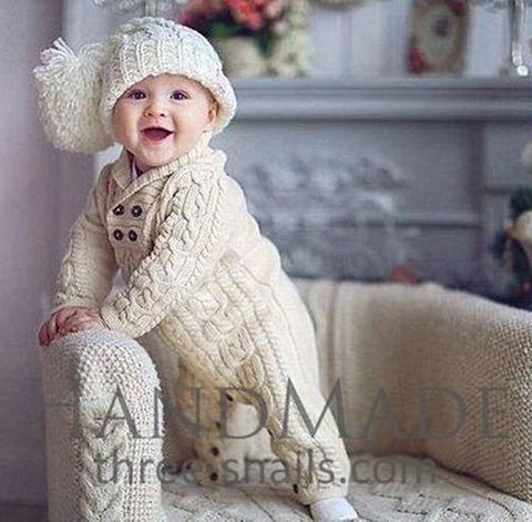 Baby Knitted Outfit - Romper - Baby Clothes