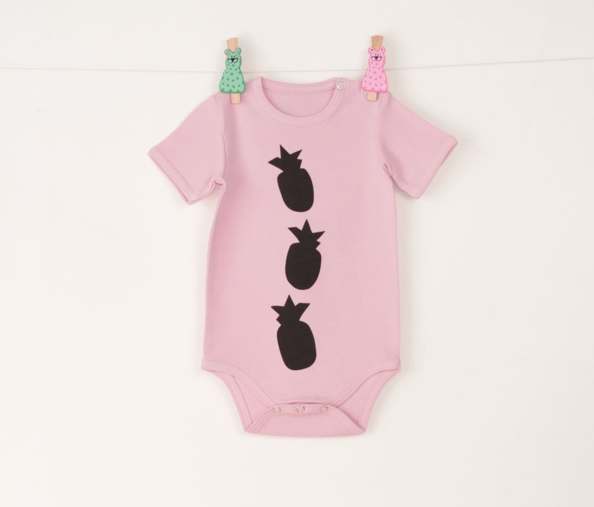 Baby Onesie Pineapple - 1 - 3 Mnth (H-62 Cm) / Pink / Us - Baby Clothes