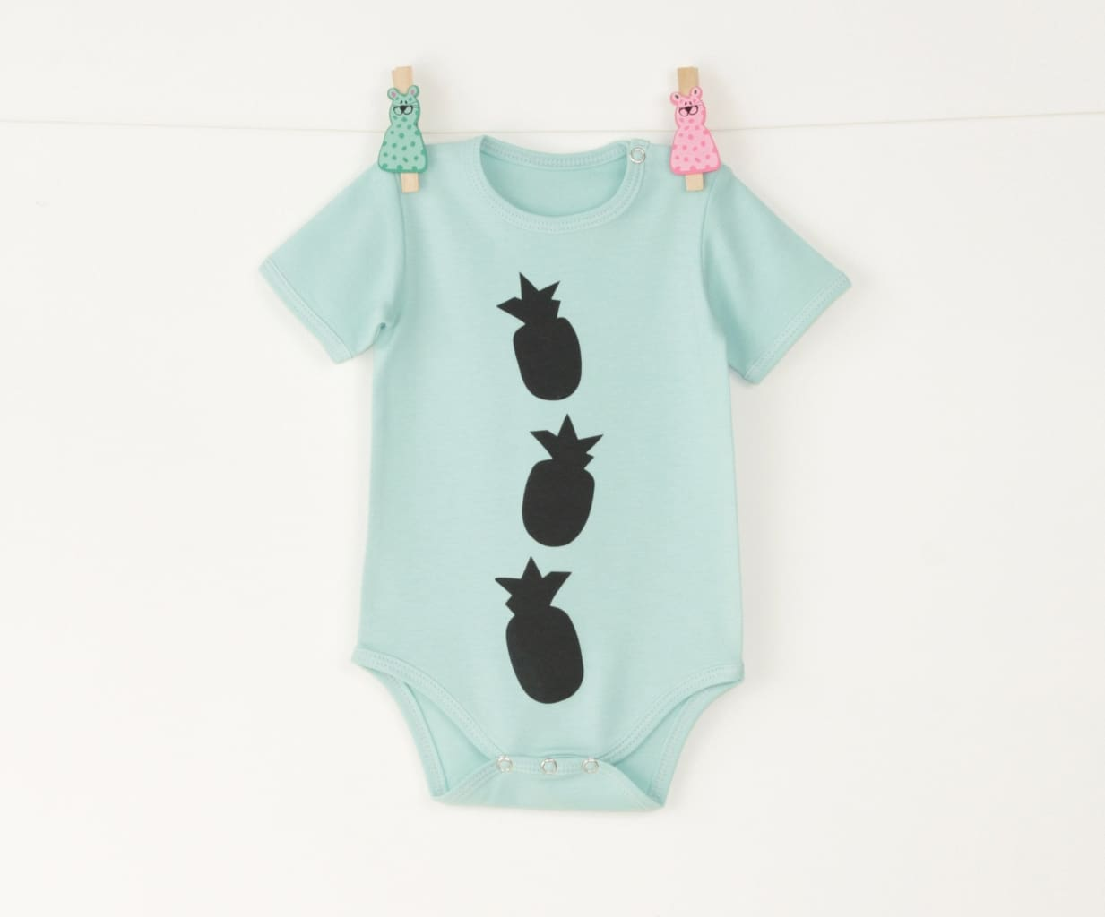 Baby Onesie Pineapple - 1 - 3 Mnth (H-62 Cm) / Turquoise / Us - Baby Clothes