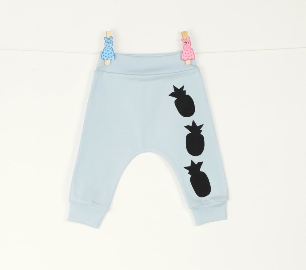 Baby Pants Pineapple - 1 - 3 Mnth (H-62 Cm) / Light Blue / Us - Baby Clothes