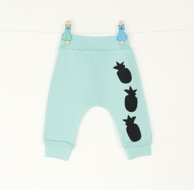 Baby Pants Pineapple - 1 - 3 Mnth (H-62 Cm) / Turquoise / Us - Baby Clothes