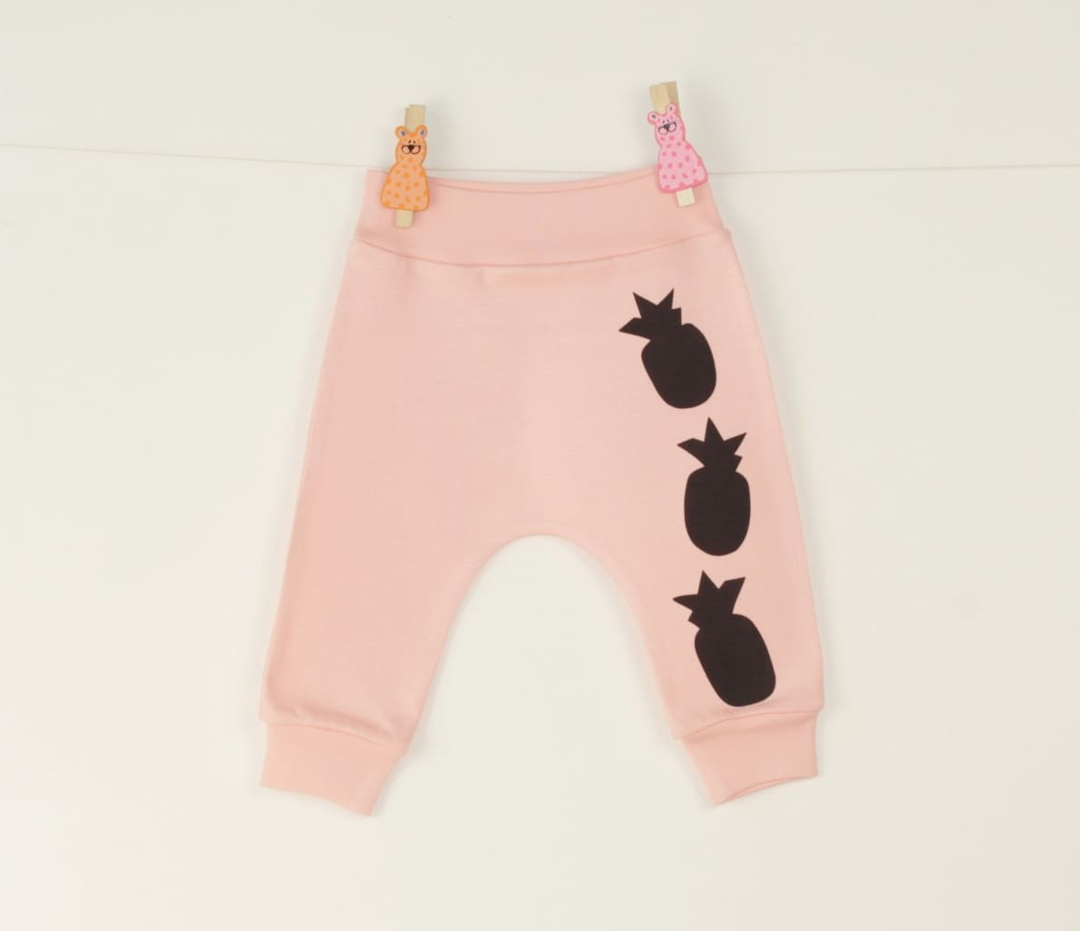 Baby Pants Pineapple - 1 - 3 Mnth (H-62 Cm) / Peach / Us - Baby Clothes