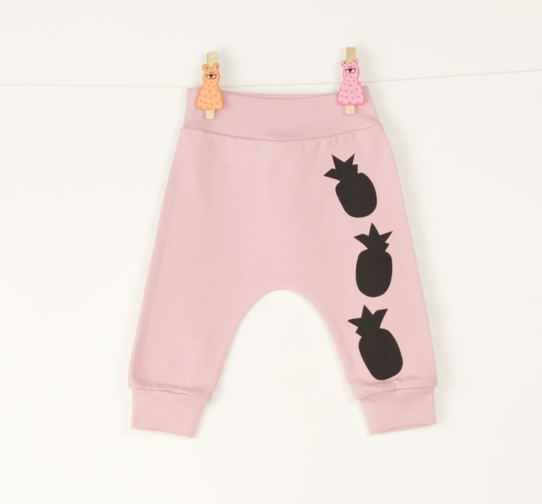 Baby Pants Pineapple - 1 - 3 Mnth (H-62 Cm) / Pink / Us - Baby Clothes