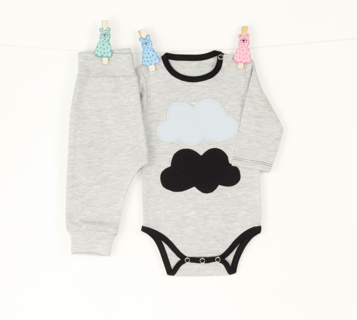 Baby Set With Body And Pants Clouds - Baby Clothes