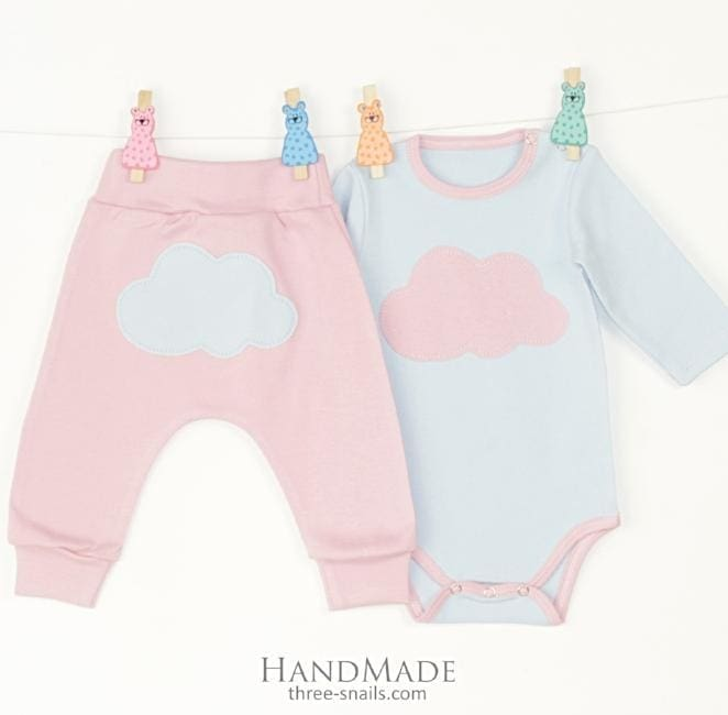 Baby Set With Bodysuit Clouds - Baby Clothes