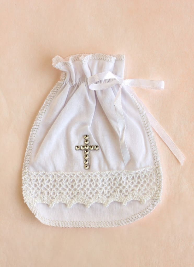 Bag For Hair With Rhinestones And Lace - Baptism Accessory
