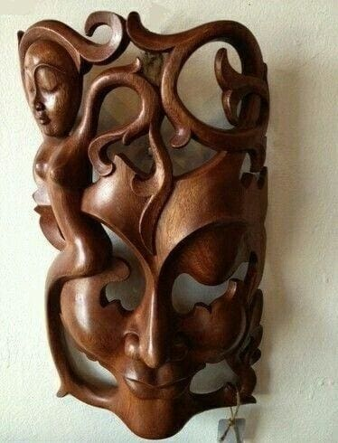 Bali Art Hand Arved Wooden Wall Mask - Mask