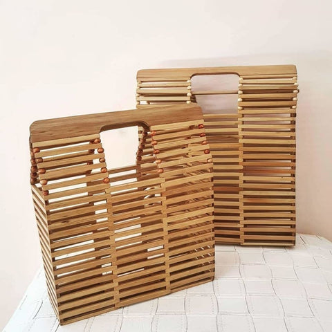 Bamboo Square Wooden Handbag - Bag