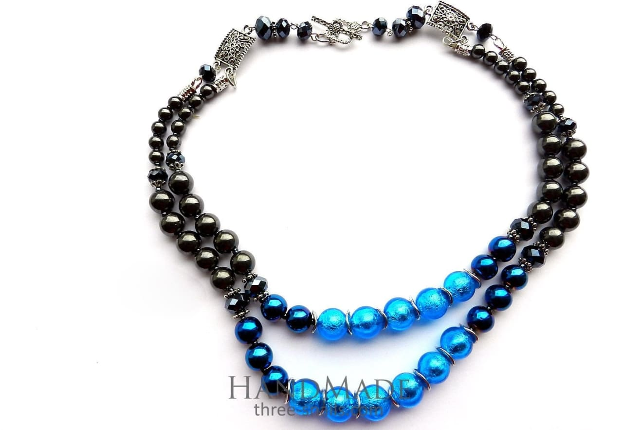 Bead Necklaces Blue Dance - Vasylchenko1