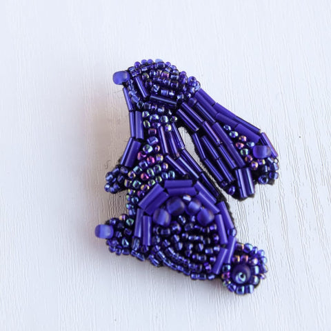 Beaded Brooch Blue Easter Bunny - Vasylchenko1