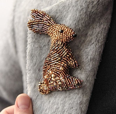 Beaded Brooch Golden Bunny - Vasylchenko1