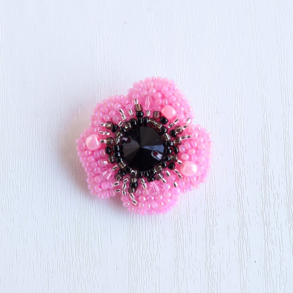 Beaded Brooch Pink Poppy - Vasylchenko1