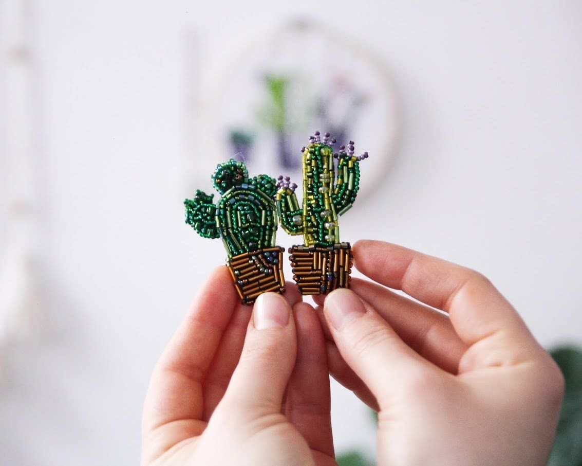 Beaded Brooch - Actus In A Pot - Popovichenko