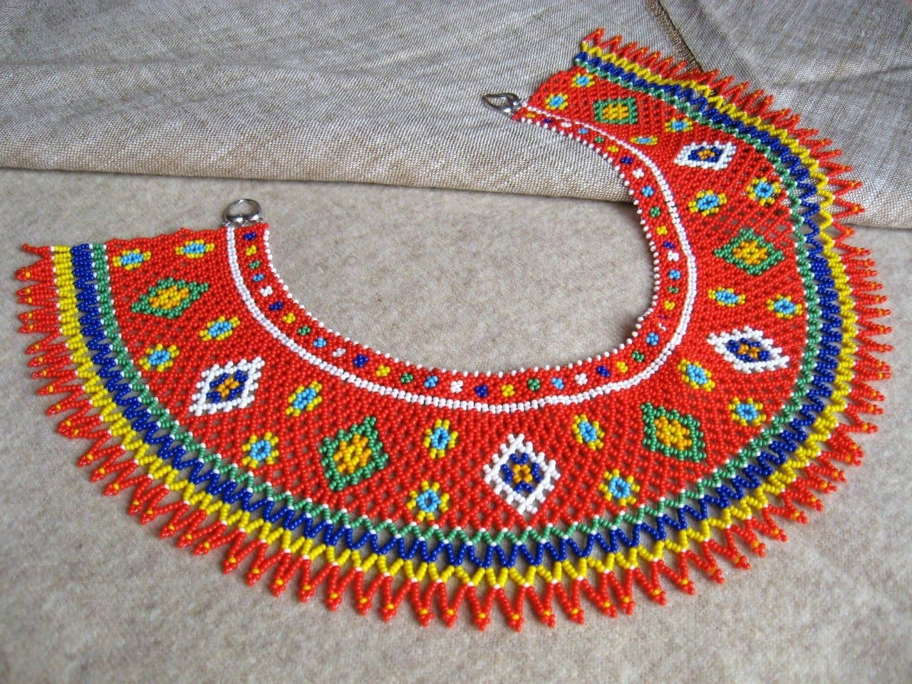Beaded Collar Necklace (Sylyanka) Carpathian Sun - Vasylchenko1