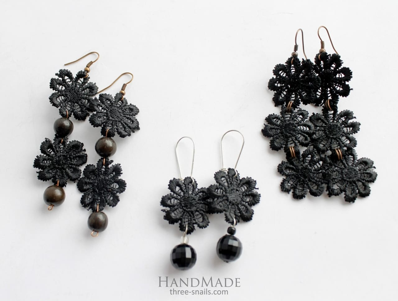 Beaded Earrings Night Flower - Melnichenko1