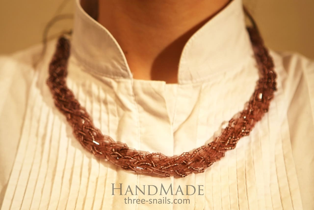 Beaded necklace «Amber shine» - 1