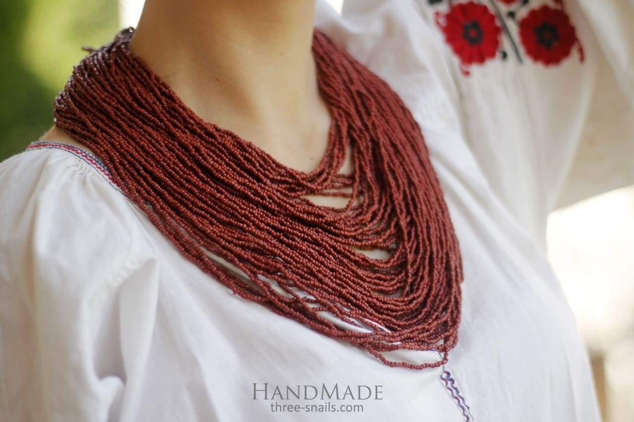 "Burgundy beaded necklace ""Dark ceramics"""