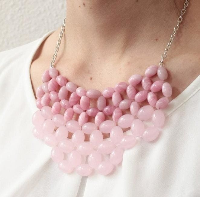 "Beaded necklace ""Pink stone"" - 1"