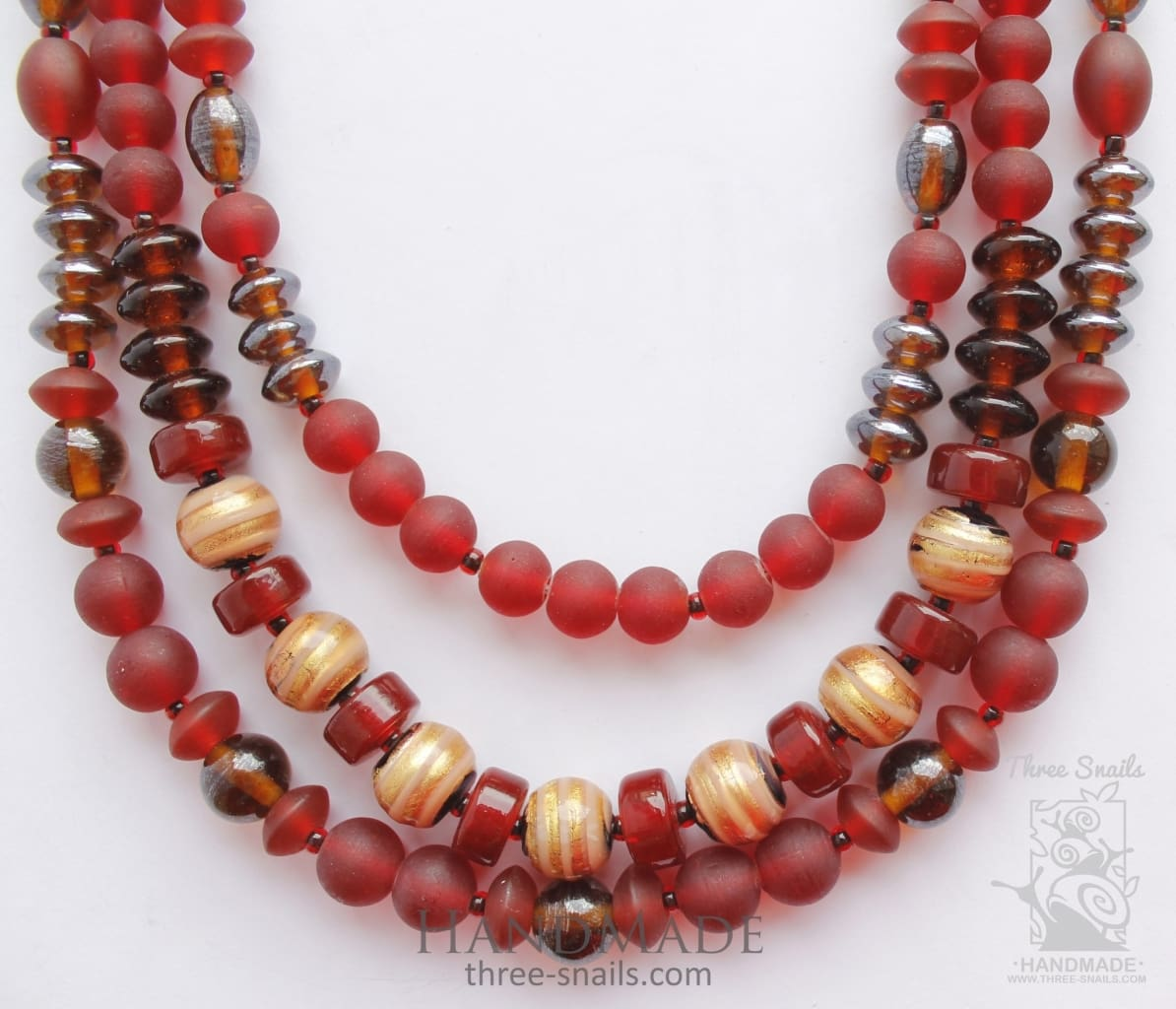 Beaded Necklace Red Glow - Melnichenko1