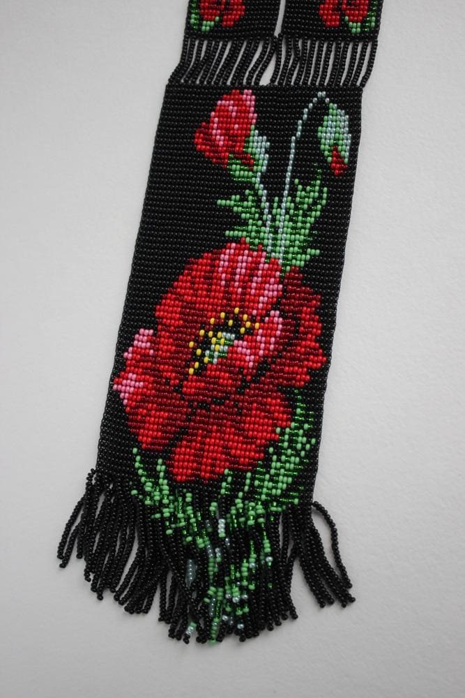 Beaded Necklaces Red Poppy And Milk  - Melnichenko1