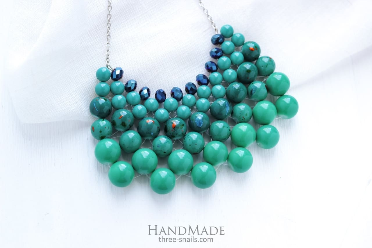 Beads Necklace Sara Blue - Vasylchenko1