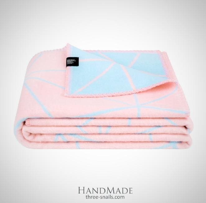 Bed Throw Blue And Pink Souffle - Blanket