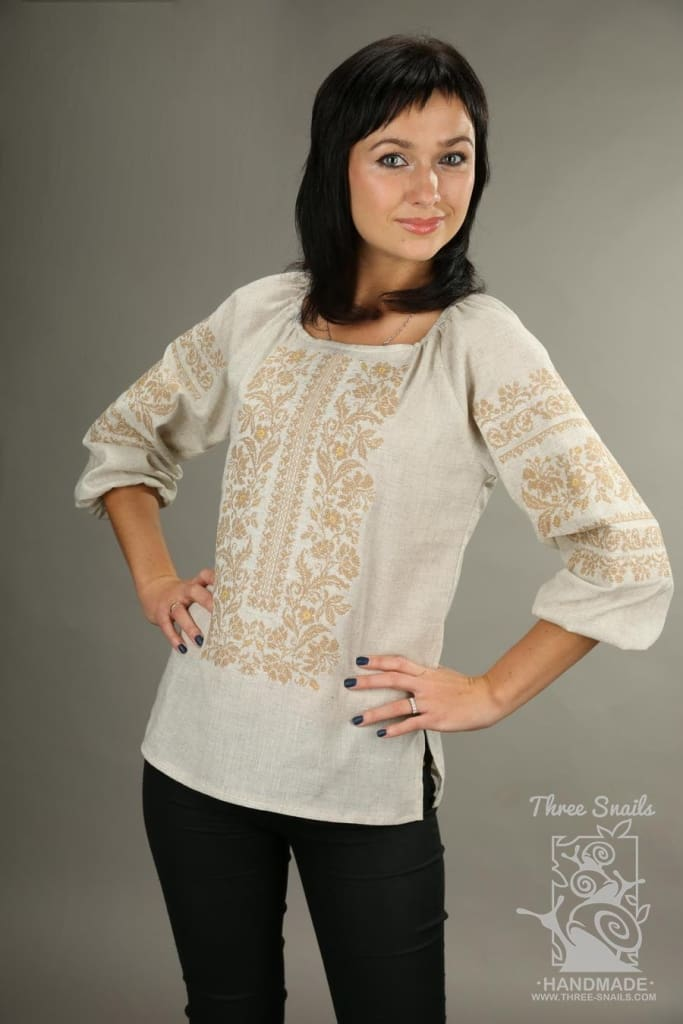 Beige Blouse Embroidery Flowers - Melnichenko1